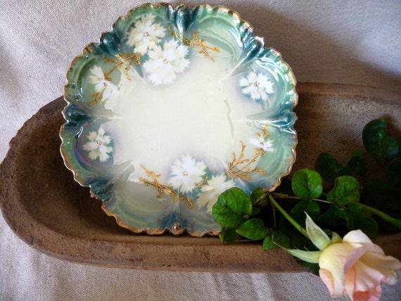 Antique Plate Porcelain Germany// 1950s// Scalloped Gilt Embossed Vintage Plate// Hollywood Regency