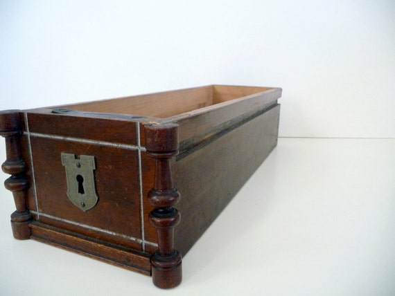 Vintage Wood Box Sewing Machine Drawer 1930s Rustic Industrial Wooden Box Container