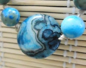 Blue Crazy Lace Agate beaded bracelet      with Hemp Cord        GEMSTONE BRACELET