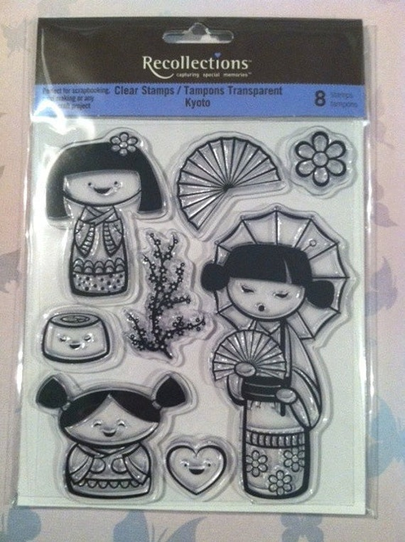 Kyoto Clear Stamp by Recollections 8 Acrylic Cling Asian Flower Japan Kimono Heart Happy Cherry Blossom Sushi
