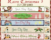 Retro Christmas Etsy Shop  Banner Set - Your Choice from 5 Pre-made Vintage Designs