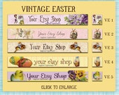 Etsy Shop Banner Set Vintage Easter  - Your Choice from 5 Pre-made Designs