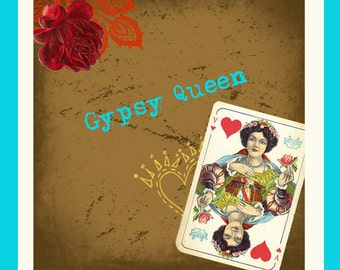 """Etsy Shop Banner Set w/ New Size Cover Photo - Vintage Gypsy- Pre-made 6 Piece Set - """"Gypsy Queen"""""""