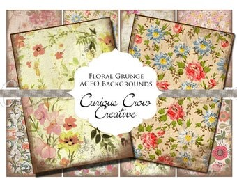 Vintage Floral Grunge Digital Collage Sheet -  2.5 x 3.5 Gift Tag, Label ACEO ATC -  INSTANT Printable Download