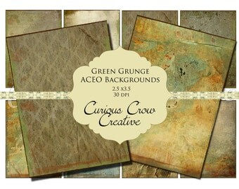 Green Grunge Digital Collage Sheet - ACEO ATC 2.5 x 3.5 -  INSTANT Printable Download