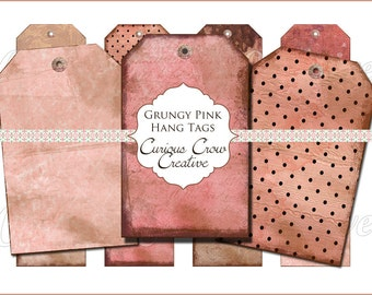 Grungy Pink  Hang Tags Digital Collage Sheet - 2 x 3 Inches -  INSTANT Printable Download Tags, Scrapbooking