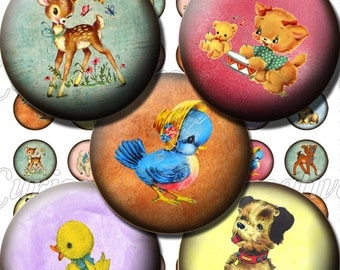 Cute Retro Animals 1 inch 25mm Circle Rounds Digital Collage Sheet -  INSTANT Download - Bottle cap Pendant Jewelry - Printable Download