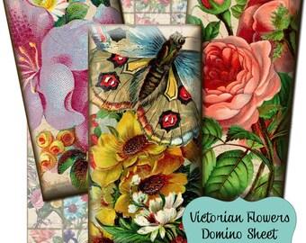 Victorian Flowers 1 x 2 inch Domino Digital Collage Sheet - INSTANT Printable Download - Jewelry, Scrapbook, Pendants