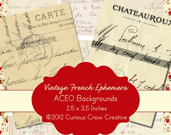Vintage French Ephemera Digital Collage Sheet -  2.5 x 3.5 Inches ACEO ATC -  INSTANT Printable Download