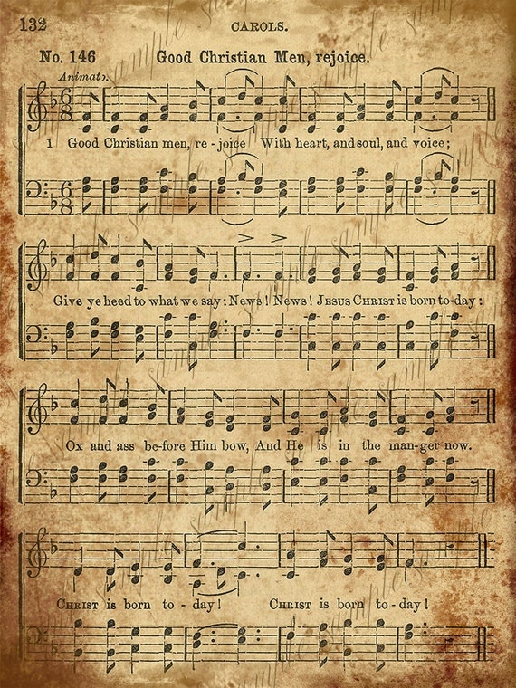 Grungy Aged Vintage Christmas Carol Music Digital Sheet
