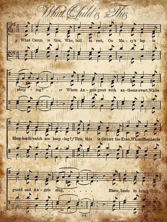 Peaceful image inside vintage sheet music printable