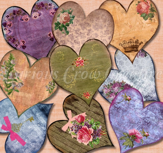 Grungy Shabby Hearts Digital Collage Sheet - 2 inch - INSTANT Printable Download Love - Romance - Hearts-Tags.Collage, Scrapbook