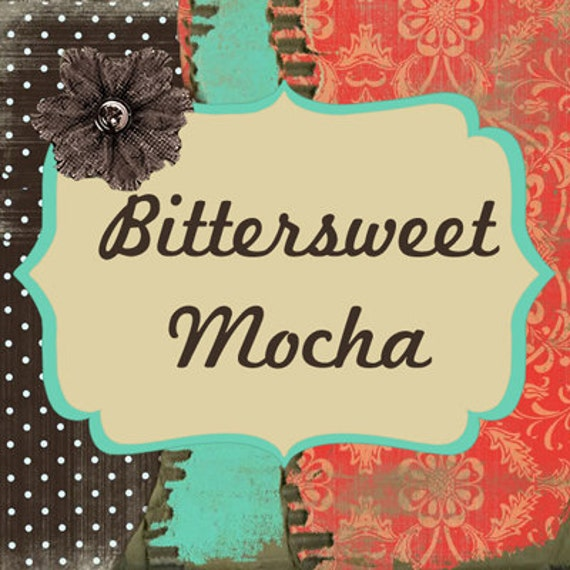 "Etsy Shop Banner Set w/ New Size Cover Photo - Pre-made Rustic Floral Design - ""Bittersweet Mocha"" Chocolate, Melon and Turquoise - 6 Pieces"