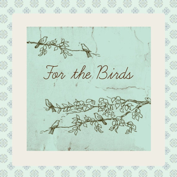 """Etsy Shop Banner Set with New Size Cover Photo Vintage Style Bird on Branches - 6 Piece Set -  """"For the Birds"""""""