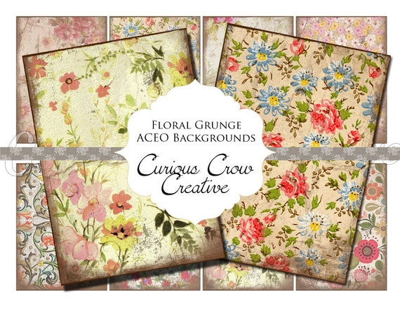 Floral Grunge Digital Collage Sheet - ACEO ATC 2.5 x 3.5 -  INSTANT Printable Download