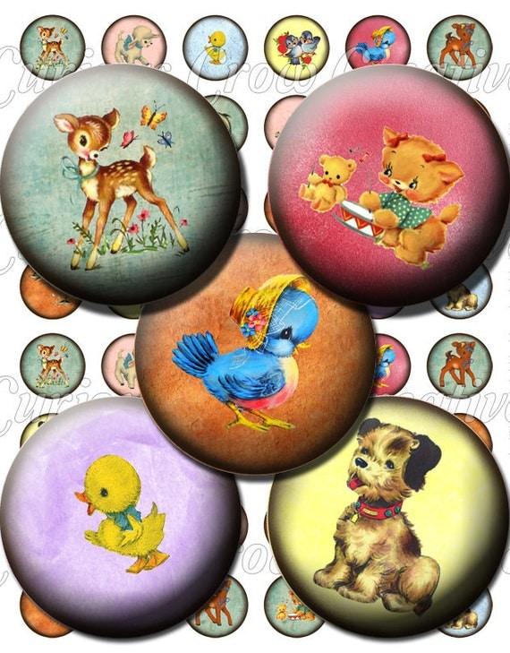 Animales lindos retros Rondas 1 pulgada Círculo Hoja Collage Digital - Jewelry Charms Noticias Art Etiquetas Bottlecap Clip Art DIY para imprimir
