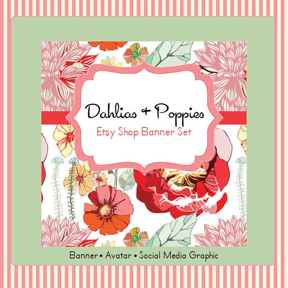 Etsy Shop Banner Set w/ New Size Cover Photo Dahlias and Poppies - Pre-made Retro Floral Design - 6 Piece Set