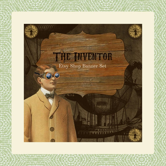 """Steampunk Etsy Shop Banner Set w/ New Size Cover Photo - Pre-made Design - 6 Piece Set """"The Inventor"""""""