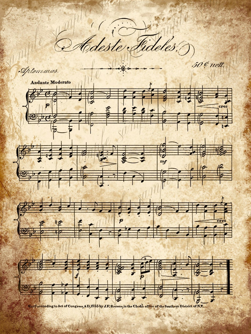 Grungy aged vintage christmas carol music digital collage for Newspaper wallpaper for sale