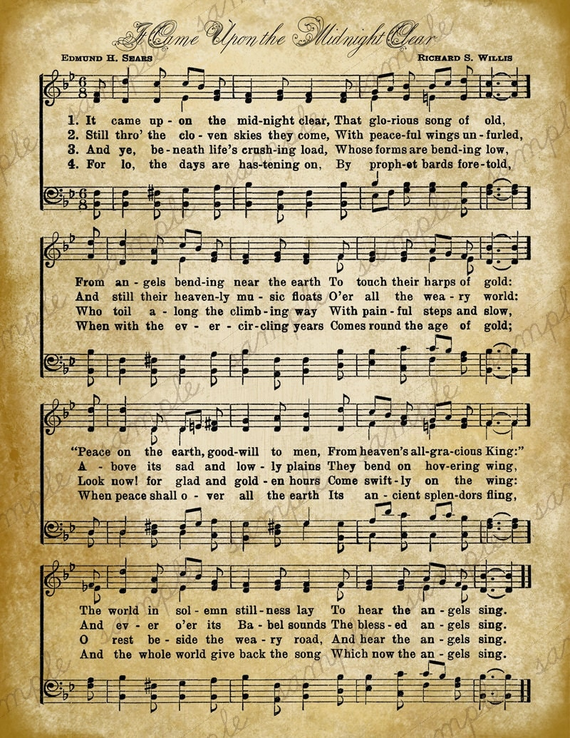 Grungy aged vintage christmas carol music digital sheet for Vintage house music