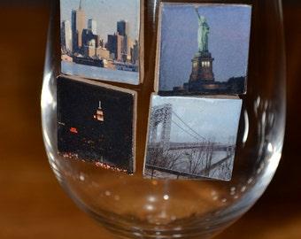 Scenic NY Magnetic Wine Charm Set