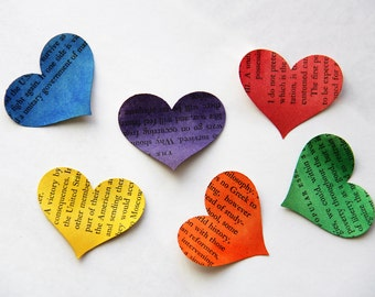 Storytale endings - medium size handpainted multi color rainbow heart confetti from vintage story books 25 count