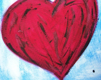 "SALE 5 x 5 color print ""Love Big"" red heart blue"