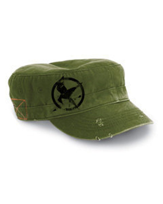 the games army green destroyed military cap embroidery mockingjay symbol
