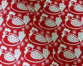 Westfalenstoffe Chickens fabric - Oeko-Tex - White on Red FQ SALE!