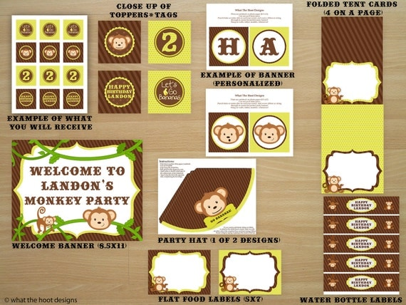 Printable Monkey Party Package - Completely DIY - Personalized - Includes Invitation, Thank you card, cupcake toppers, favor tags and more