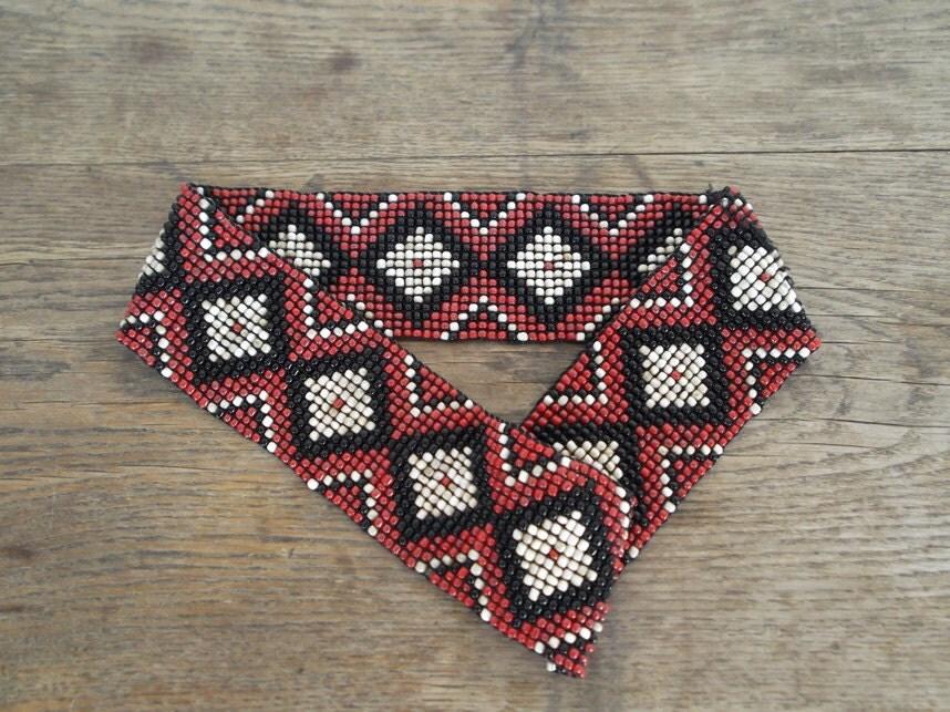 glass beaded wide elasticated belt tribal pattern