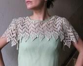 SALE 25% OFF Amazing Romantic Forest Mint Green Lace Summer Dress / Size M