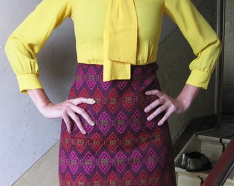 60s bright yellow and purple Jaquard embroidered wool dress