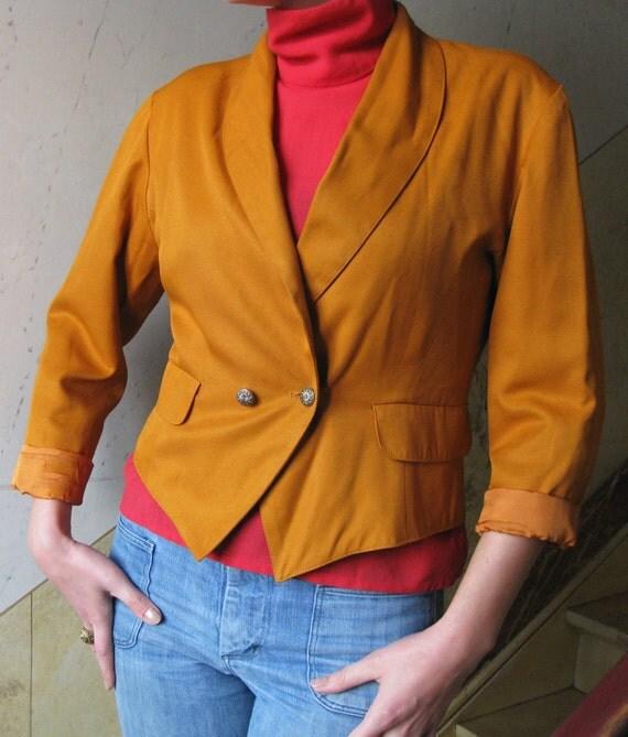 Vintage Ochre/Orange Summer Blazer or Jacket from Paris M-L