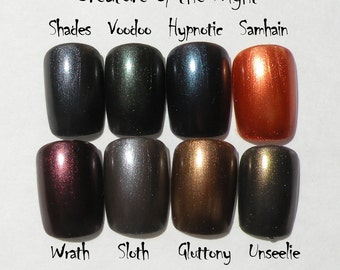 Creature of the Night Nail Polish Bundle - 8 Pack - Vegan Friendly Non Toxic 8ml bottles