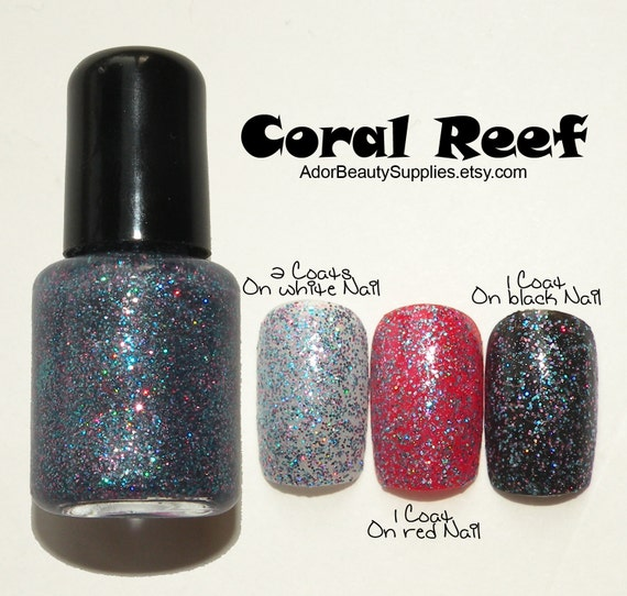 Coral Reef Glitter Top Coat Nail Lacquer 8ml Vegan Nontoxic - G29