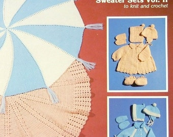 PDF Pattern - Round Baby Blankets Matching Sweater Sets KNIT & CROCHET Vol 2 - Complete Outfits - Free Ship - Instant Download - Easy 2 Make