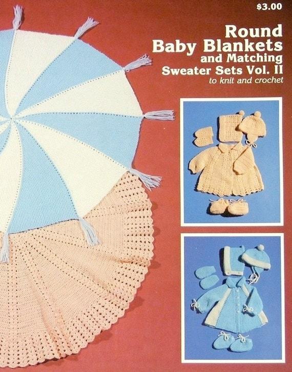 Knitting Pattern For Round Baby Blanket : PDF Pattern Round Baby Blankets Matching Sweater Sets KNIT
