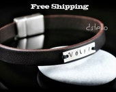 Unisex - Sterling Silver ID - Engraved - Mens bracelet - Name - Word - Date - Personalized - Hand stamped - Genuine leather -  Woman