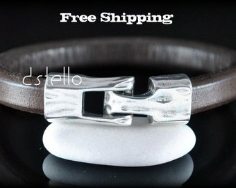FREE SHIPPING, Jewelry Mens bracelet, Gift ideas, Silver color hammered clasp, Thick leather cord, Spanish Leather, European Quality, 8M