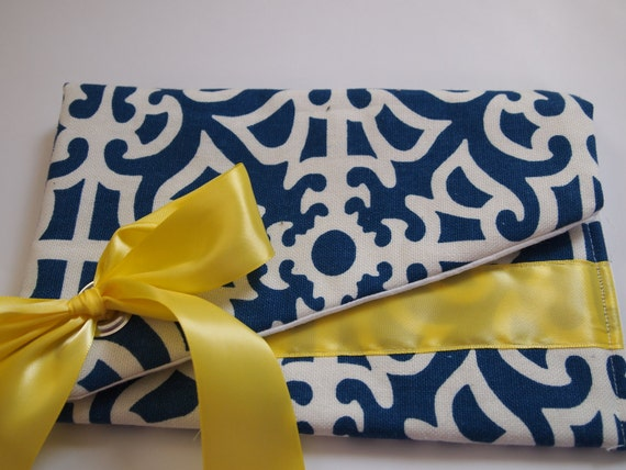 Blue and Yellow Print Cotton Clutch