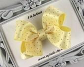 "3"" Boutique Baby Toddler Hair Bow -Sunshine Yellow Satin Ribbon"