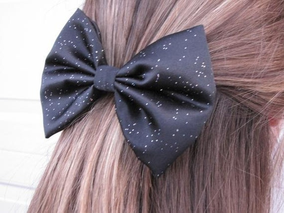 Black Glitter Satin Big Hair Bow Fabric Bow