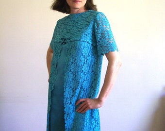1960s turquoise lace vintage satin shift dress