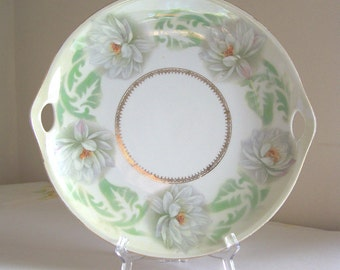 Antique German serving plate cake plate with chrysanthemum pattern - Three Crown China