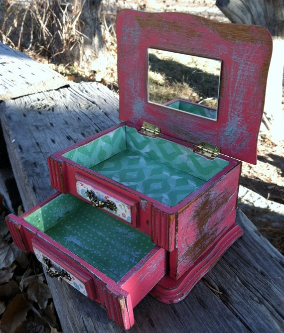Distressed Upcycled, Recycled, Repurposed Watermelon Pink & Sea Blue Jewelry/Trinket Box: OOAK