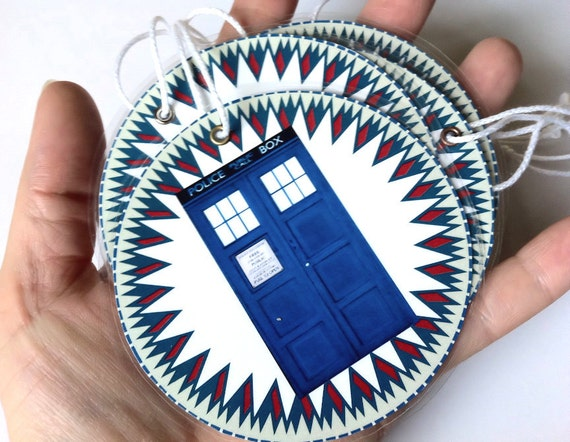 Doctor Who Inspired Christmas Ornaments 6 Gift Tags or Round Bookmarks