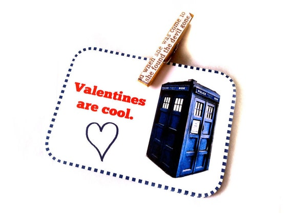 """Printable Valentines 4 Doctor Who Inspired Valentine's Day Cards. """"Valentines are cool."""" Digital PDF Download"""
