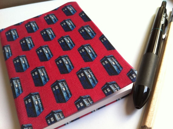 Pink Police Box Notebook, Mini Doctor Who Inspired Fabric Covered Journal, TARDIS Inspired Diary