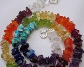 rainbow of gemstones chakra necklace w sterling silver